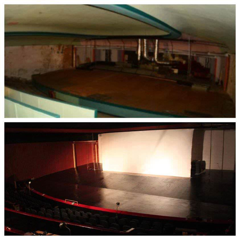 Before and After photos of the renovation at the Ritz Cinema