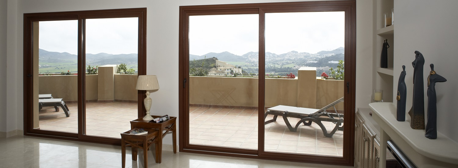 Patio Doors in wood finish for Newark homes