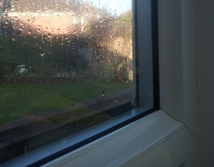 Condensation between panes of glass