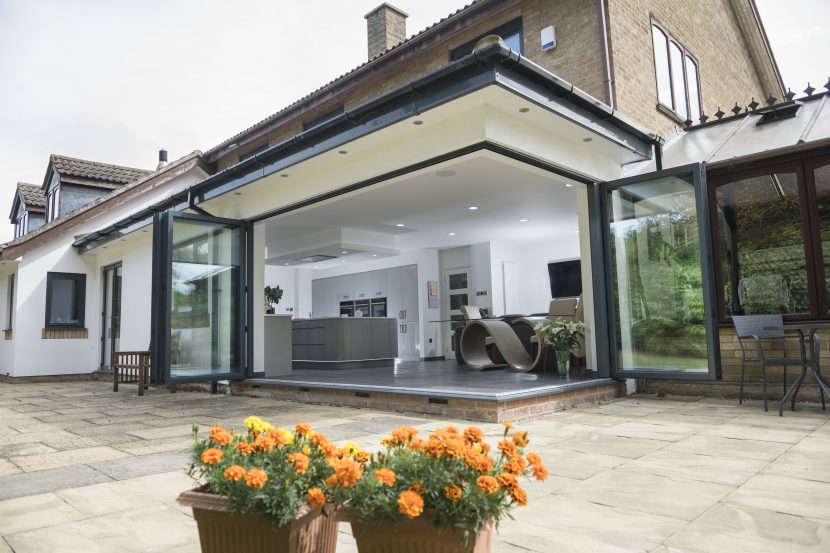 corner bifolds from outside open